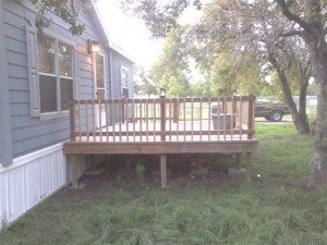 decking and steps with handrail mobile home foundation
